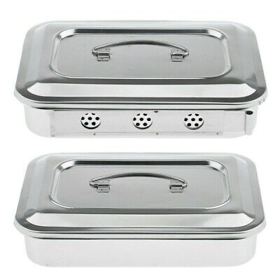 Stainless Steel Surgical Instrument Box Dental Tool Box Disinfection Tray 9 12