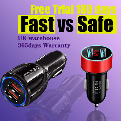 USB Car Charger Twin Port Dual Charging For Mobile Phones iPad iPhone iPod Table