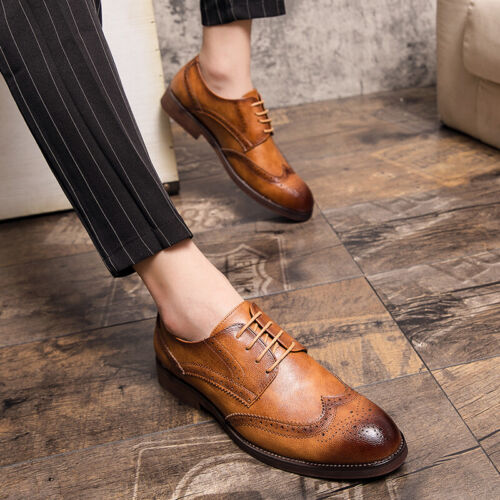 Details about  /Brogue Mens Dress Formal Faux Leather Shoes Wing Tip Carved Business Oxfords L