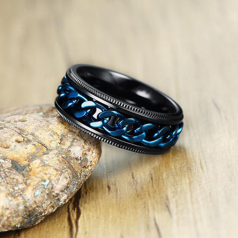 Men Wedding Ring FIDGET Spinner Chain Reliever Stainless Ste