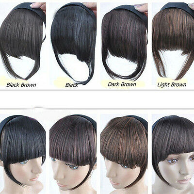 Neat Bang Fringe Straight Hair Extensions Clip on Front 4Colors ()
