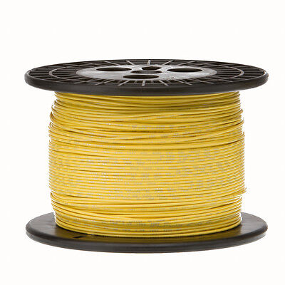 22 Awg Gauge Solid Hook Up Wire Yellow 1000 Ft 0.0253 Ul1007 300 Volts