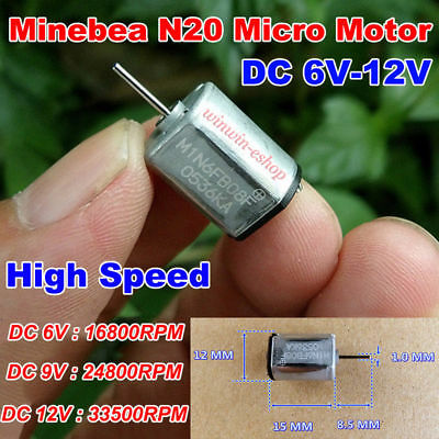 Minebea N20 Motor Dc6v-12v 9v 24800rpm High Speed 1215mm Mini Metal Brush Motor