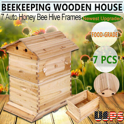 Upgraded Beehive Brood Box For 7pcs Free Flow Honey Hive Frames Beekeeping New