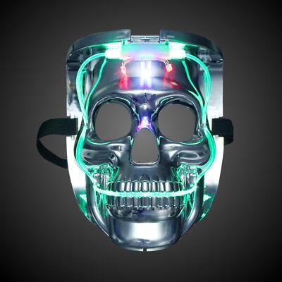 DE LED Fancy Party Halloween Karneval EL Wire Silber Schädel Cosplay ...