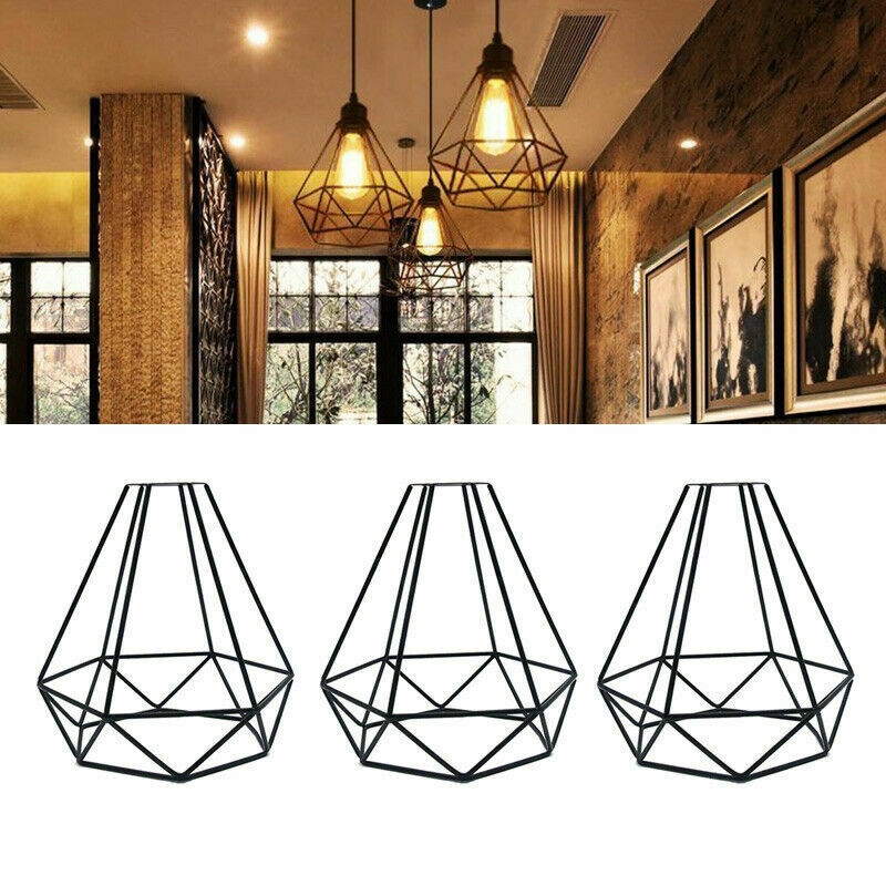 Vintage Wire Cage Pendant Light Ceiling Industrial Chandelier Lamp Shades Uk