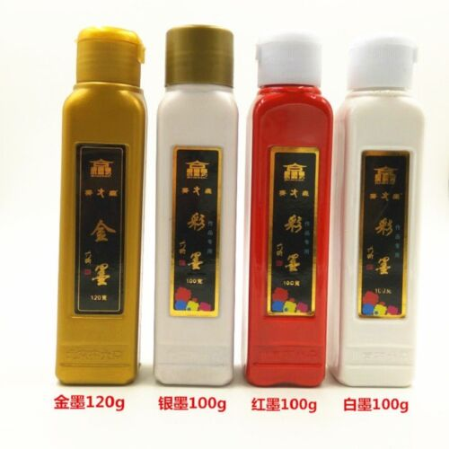 100ml Gold Silver Vermilion White Ink Sumi-e Chinese Painting Calligraphy
