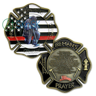 Firefighter Challenge Coin Red Lives Matter Prayer Fire Department Gift Coin