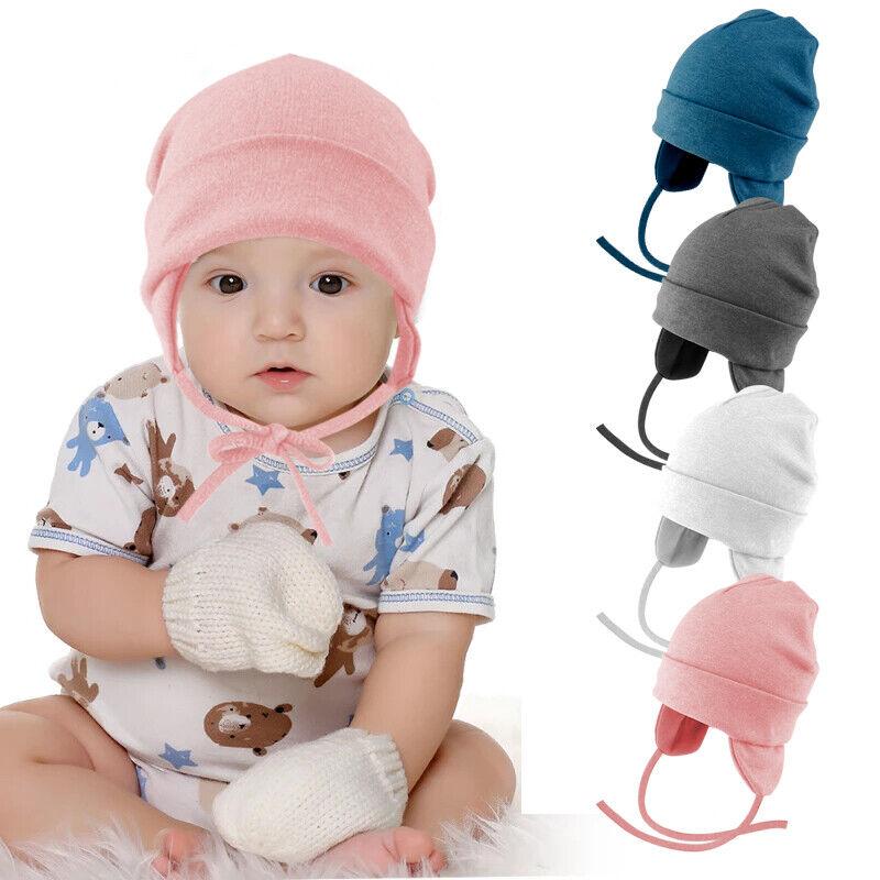 Baby Newborn Kids Hat Beanie Toddler Knitted Hat Chin Tie Earflap Winter Ski Cap