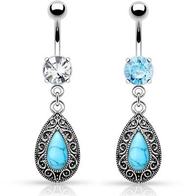 SYNTHETIC TURQUOISE TEAR DROP BELLY BUTTON RING NAVEL PIERCING DANGLE - Synthetic Turquoise Drop