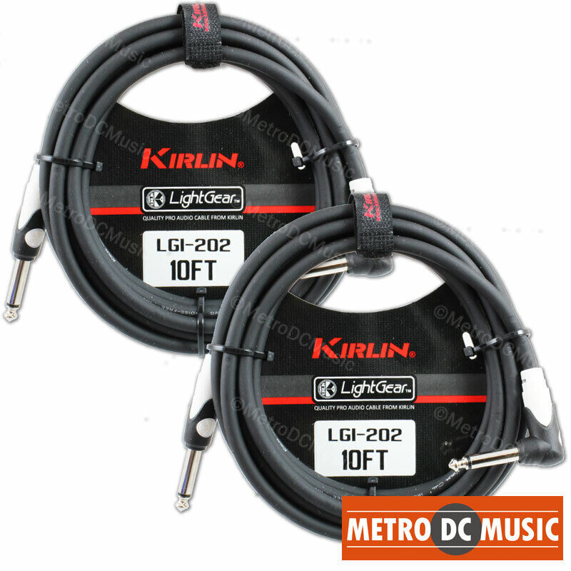 2-Pack Kirlin 10 ft Right-Angle Guitar Instrument Patch Cable Cord Free Tie