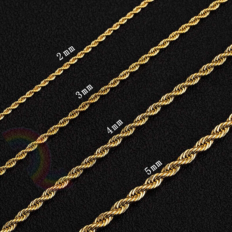 Jewellery - Women Men Stainless Steel Gold 2mm/3mm/4mm/5mm Rope Necklace Chain Link C11
