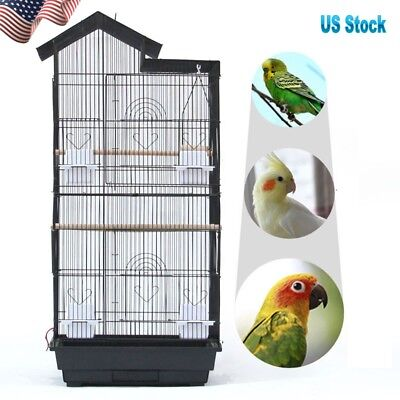 "39"" Bird Parrot Cage Canary Parakeet Cockatiel Finch Bird Cage Wood Perches Cups"