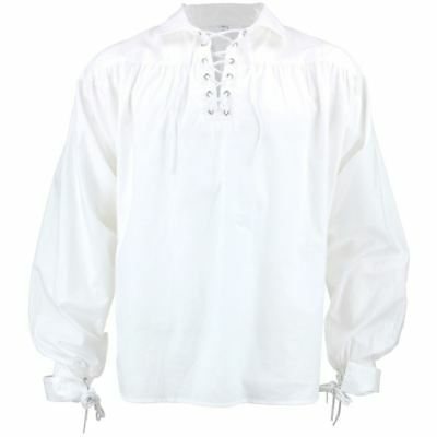 White Pirate Shirt Fancy Dress Cotton Billowy Costume Men Buccaneer Caribbean (Pirate Men)