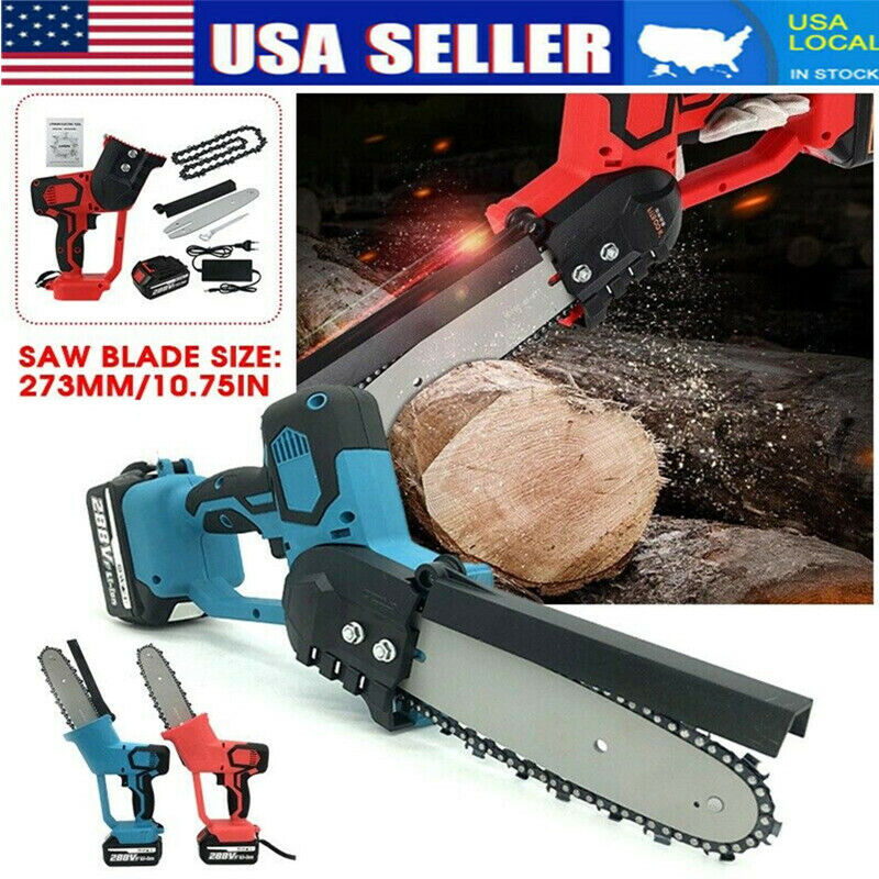 288V 1500W Cordless Electric Chain Saw Wood Cutter Mini One Hand Saw Woodworking