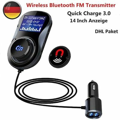 Quick Charger FM Transmitter 3.0 KFZ Auto Wireless MP3 Player Dual USB Ladegerät