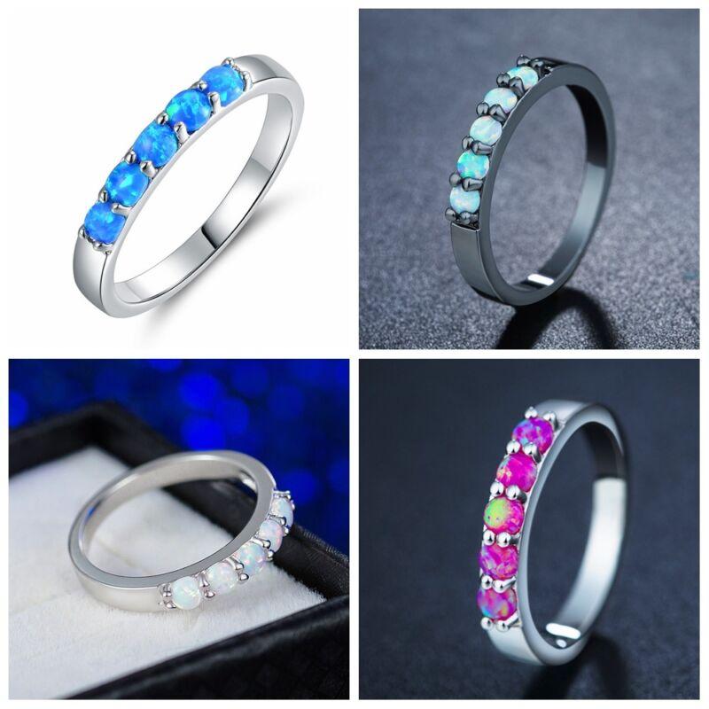 Mode Frauen Blau Blume Weiß Feueropal Silber Edelstein Schmuck Rings Größe 6-10