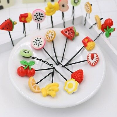 Fruit Design (Creative 10Pcs Fruit Design Strawberry Girl Hairpin Barrette)