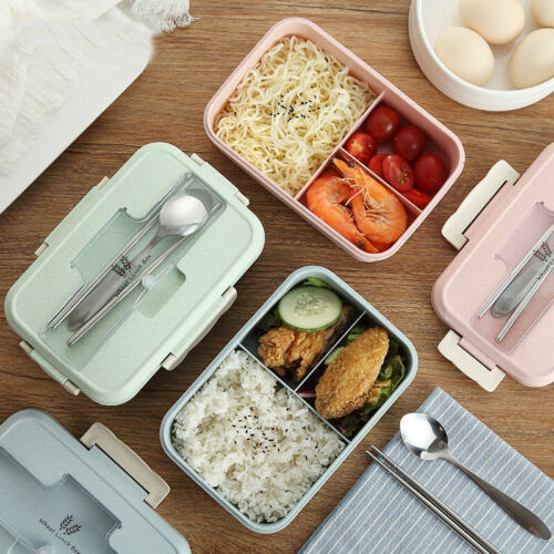 Lunch Box Wheat Straw With Dinnerware Microwave Bento Lunch