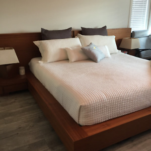 Custom King Bed Frame w/ Side Tables