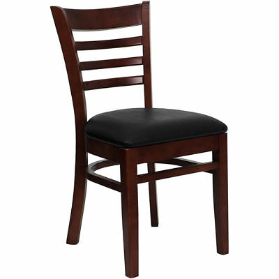 20 Wood Frame Mahogany Finish Ladder Back Restaurant Chairs Black Vinyl Seat
