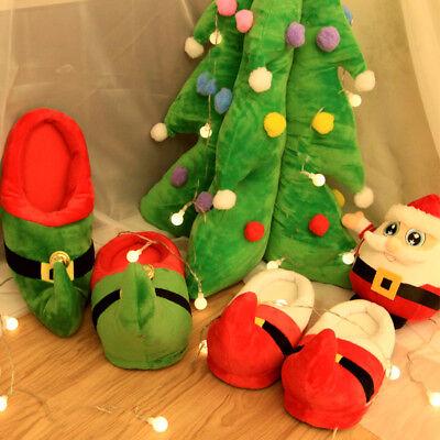 Novelty 3D Plush Christmas Santa Elf Slippers XMAS Kids Adult Unisex Booties - Elf Shoes Kids