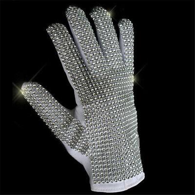 Michael Jackson MJ Costume Cosplay Stage White BlingBling Blink Gloves - Mj Costume