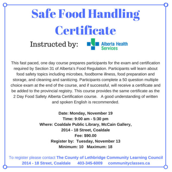 safe food handling certificate | classes & lessons | lethbridge | kijiji