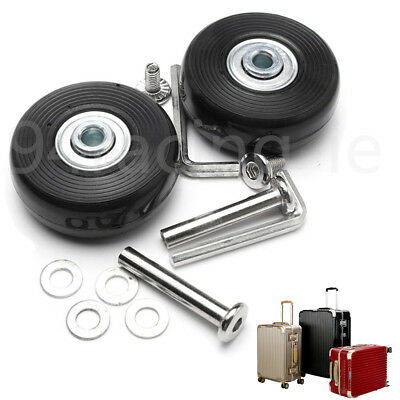 2 Set Luggage Suitcase Replacement Wheels Axles Rubber Deluxe Repair OD 45mm New