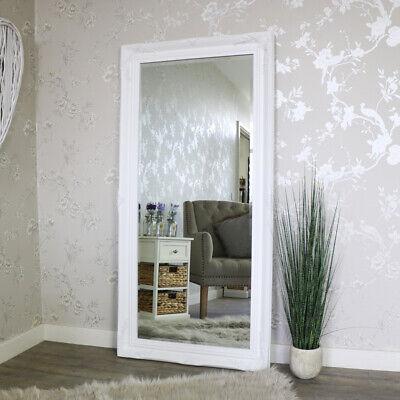 Extra Grande Blanco Pared Suelo Espejo Recargado Salón Dormitorio Vintage Hogar