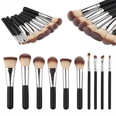 10pcs Pro Makeup Brushes Set Foundation Powder Eyeshadow Lip Brush Tool Kit