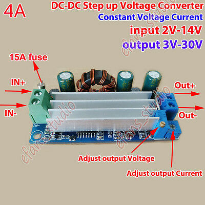 4a Dc-dc Step Up Voltage Converter 2v-14v To 3v-30v 5v 12v 24v Cccv Boost Module