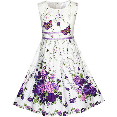 US STOCK! Girls Dress Purple Butterfly Flower Sundress Party Size 4-12