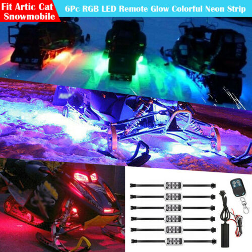 6Pc RGB LED UNDER GLOW LIGHT POD KIT REMOTE CONTROL For ARCTIC CAT SNOWMOBILE