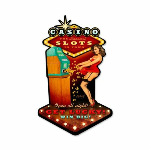 RISQUE CASINO GIRL LOOSE SLOT MACHINE HEAVY DUTY USA MADE METAL ADVERTISING SIGN