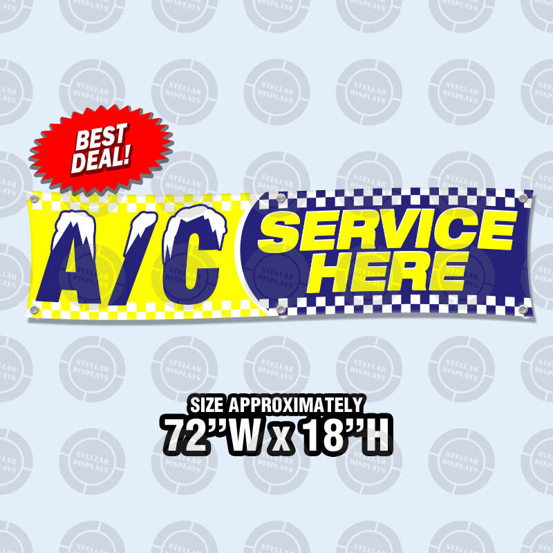 "72""x18""  AC SERVICE HERE Banner Sign Air Conditioning Automo"