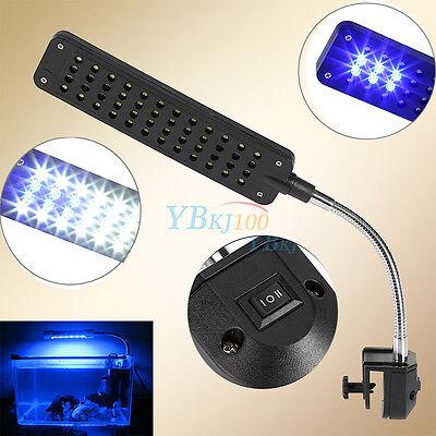 48LED Aquarium Clip Lamp 2 Modes White&Blue Plant Grow Light For Fish Coral Tank