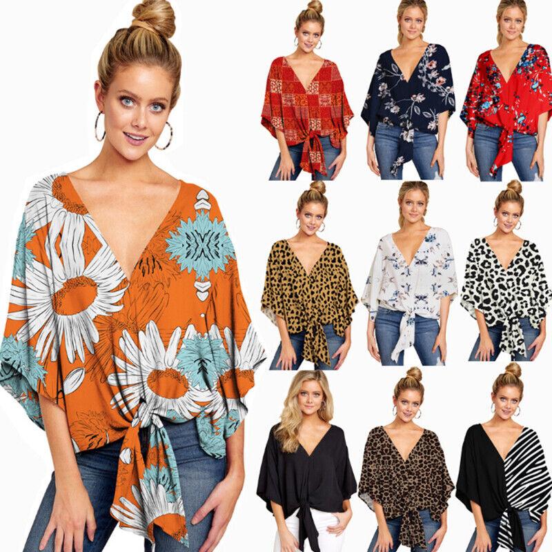 Women Floral Short Sleeve V Neck Loose Shawl Kimono Cardigan Tops T Shirt Blouse