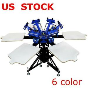 6 Color 6 Station Screen Printing Press 360 Degree Rotary Printer 006438 Item number 006438