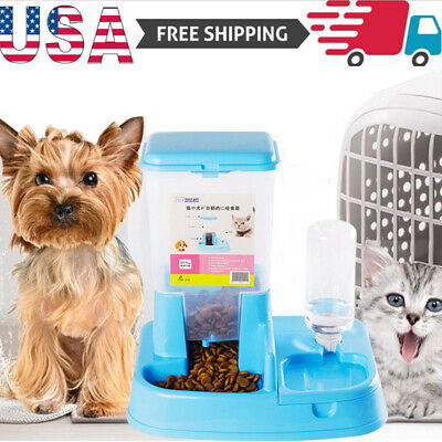US Automatic Pet Feeder Dog Cat Auto Dispenser Food Dish Bowl Feeder  Blue Pet Feeder