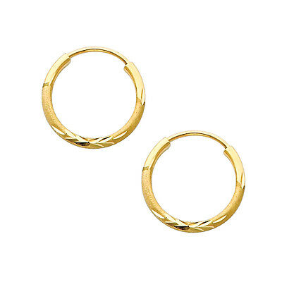 Gold Small Satin (14K Yellow Gold 1.5mm Thick Diamond Cut Satin Endless Very Small Hoop Earrings  )
