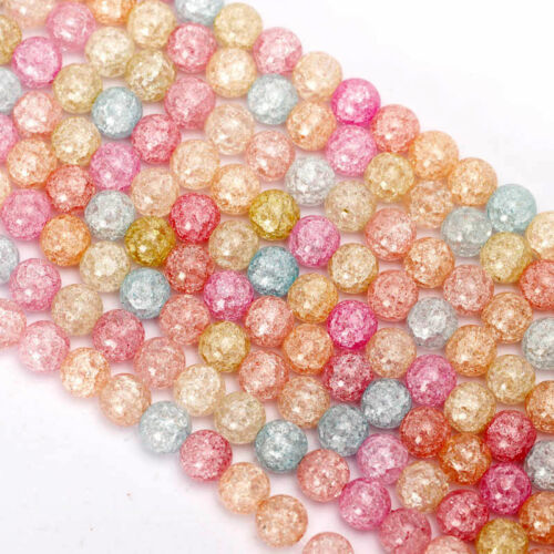 4-12mm Crystal Crack Glass Spacer Loose Round Beads DIY Jewelry Making Wholesle