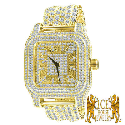 Luxury Fully Iced Out Yellow Gold Lab Simu Diamond Custom 6 Row Band Mens Watch  ()