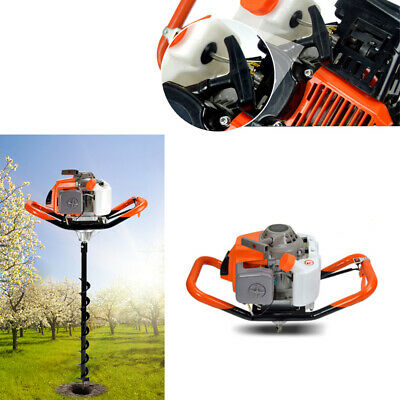 71cc Post Hole Digger Gas Powered Earth Auger Borer Fence Ground W 3 Drill Bits