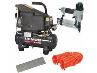 Sealey SAC0610E 6 Litre Compressor + SA792 Nailer/Stapler + Hose + 5000 Nails