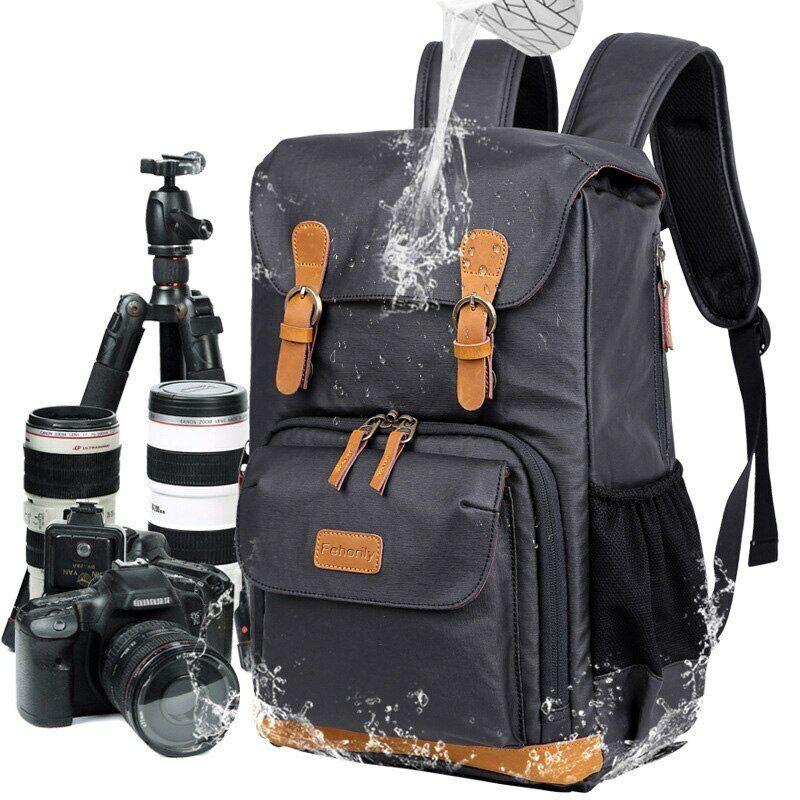 DSLR Nylon Camera Backpacks Digital Camera Bag Leather for Canon 5D Nikon Sony