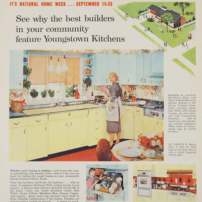 1956 Youngstown Kitchen Steel Cabinets Home Appliance photo art decor vintage ad