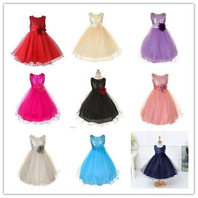 Flower Girl Princess Bow Dress Toddler Baby Wedding Party kids Dress 3-10 year