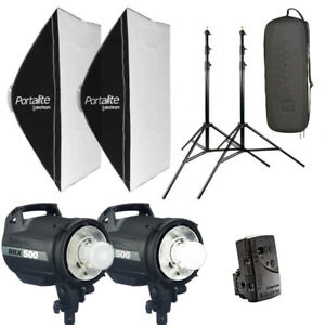 Elinchrom BRX 500/500 Strobe Set with Soft Boxes and Stands - Am