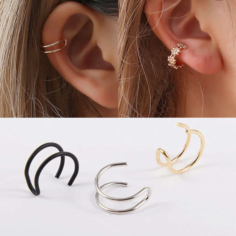 Square Ear Clip Cuff Wrap Fake Earrings Hoop Non Piercing Cartilage Jewelry Gift